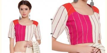 खेस ✥ Three panel blouse in white, pink and orange khesh ✥ 9