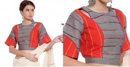 खेस ✥ Grey and orange khesh box sleeve blouse ✥ 10