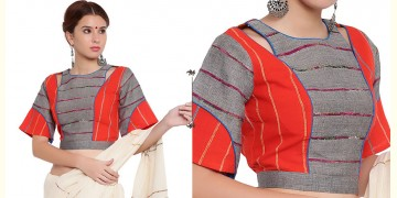 खेस ✥ Grey and orange khesh box sleeve blouse ✥ 10