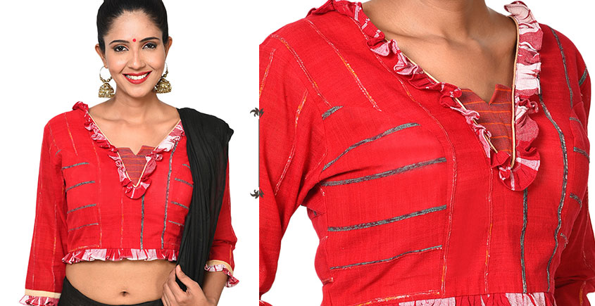 खेस ✥ Bengali traditional blouse in white khesh with gamcha frills ✥ 11