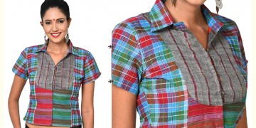 खेस ✥ Shirt style checkered blouse ✥ 14