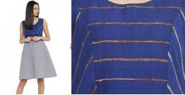 खेस ✥ Blue khesh and grey Cotton Handwoven Dress ✥ c