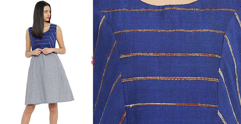 खेस ✥ Blue khesh and grey Cotton Handwoven Dress ✥ c