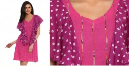 खेस ✥ Pink khesh with ruffel bandhani dress ✥ a