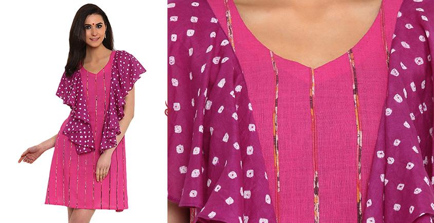 खेस ✥ Pink khesh with ruffel bandhani dress ✥ a