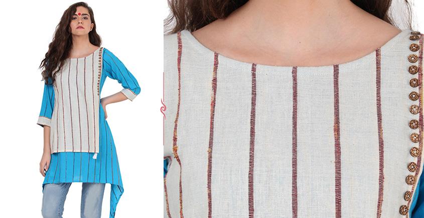 खेस ✥ Khesh blue & white tunic ✥ l