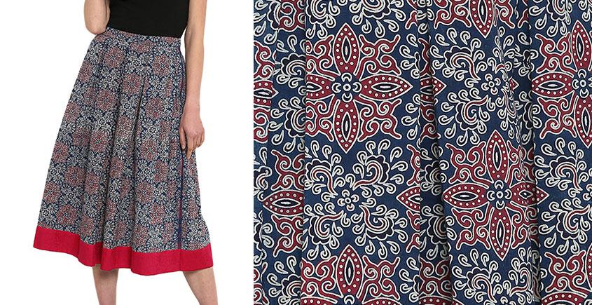 Ireene ✥ Block Printed . Skirt ✥ 38