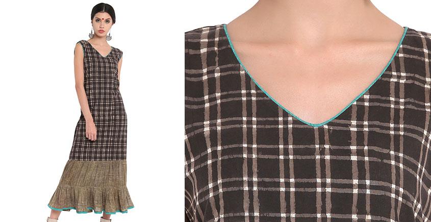 Ireene ✥ Block Printed . Dress with frills ✥ 6