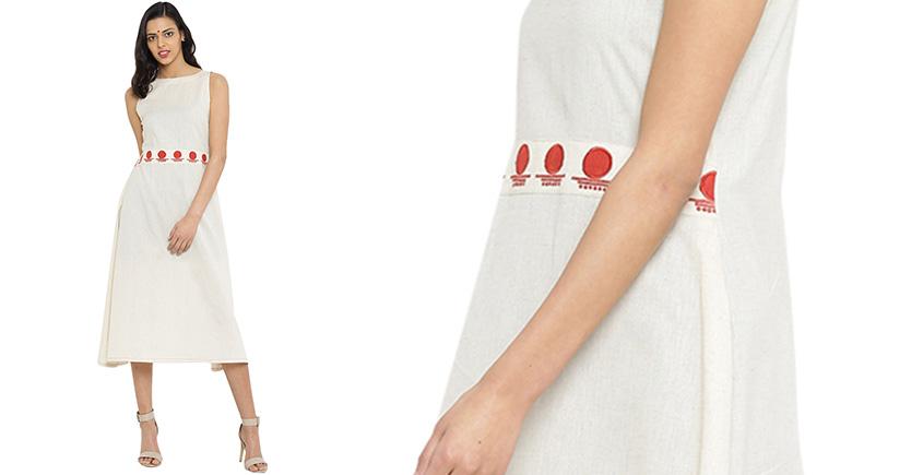 बिंदी ⚫ Midi dress with bindi embroidered waist belt ⚫ 1
