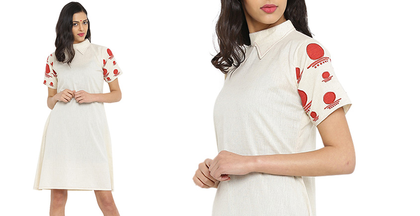 बिंदी ⚫ A-line dress with collar and bindi embroidered sleeves ⚫ 2