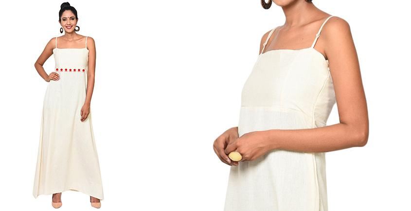 बिंदी ⚫ Maxi spaghetti dress with bindi waist band ⚫ 12