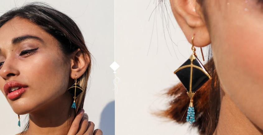 Flying Kites ♦ Onyx Stone . Kite Earrings ♦ 8