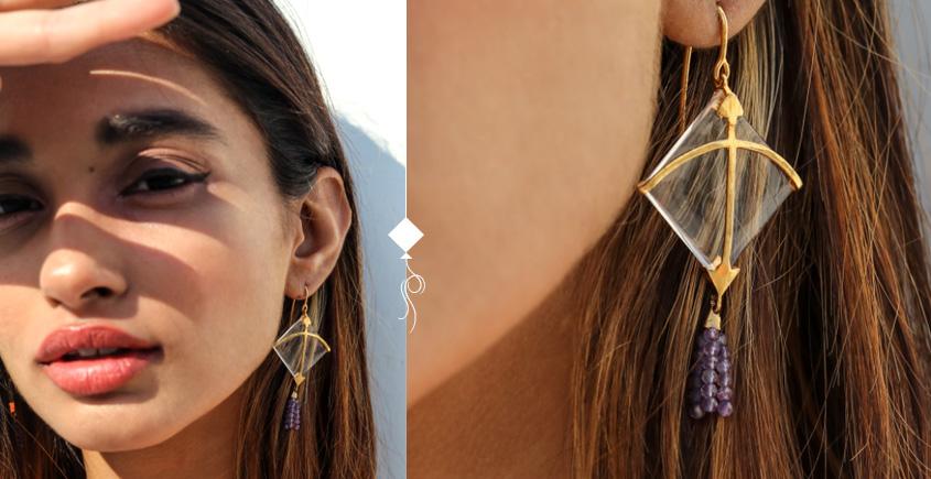 Flying Kites ♦ Natural Crystal . Kite Earrings ♦ 11