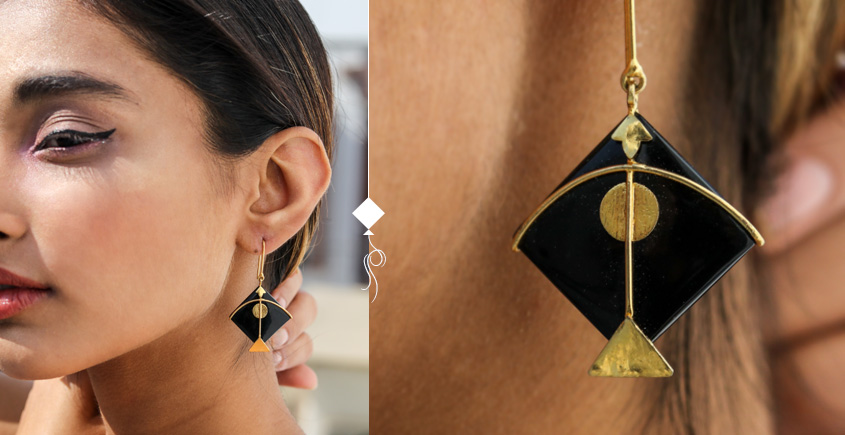 Flying Kites ♦ Onyx Stone . Kite Earrings ♦ 13