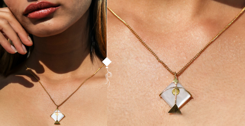 Flying Kites ♦ Moonstone . Kite Pendant ♦ 24 { without chain }