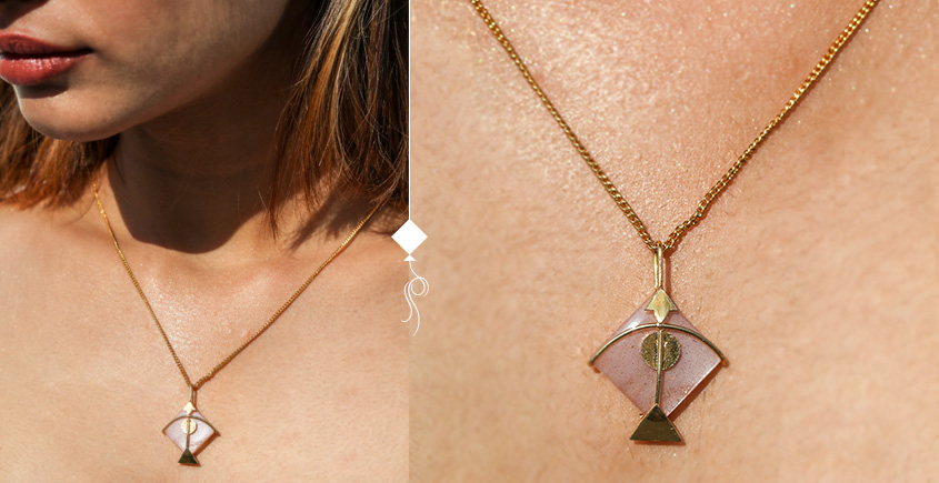 Flying Kites ♦ Moonstone . Kite Pendant ♦ 22 { without chain }