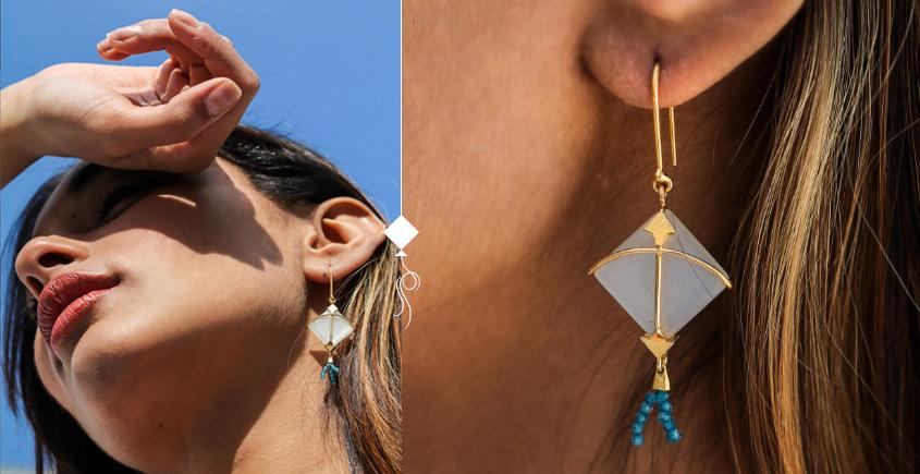 Flying Kites ♦ Moonstone . Kite Earrings ♦ 1