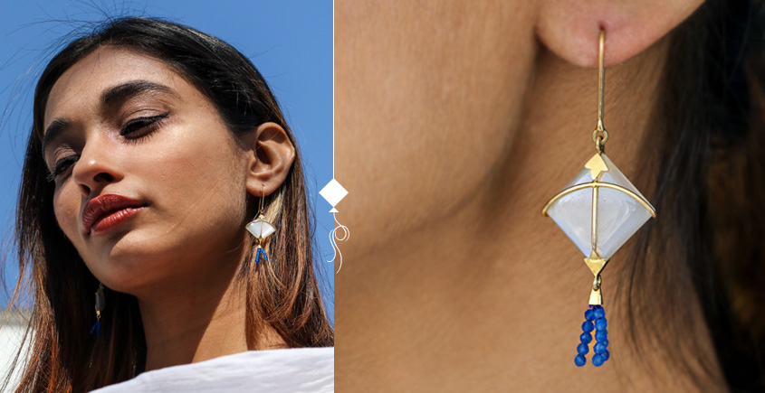 Flying Kites ♦ Moonstone . Kite Earrings ♦ 2