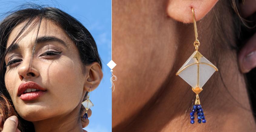 Flying Kites ♦ Moonstone . Kite Earrings ♦ 3