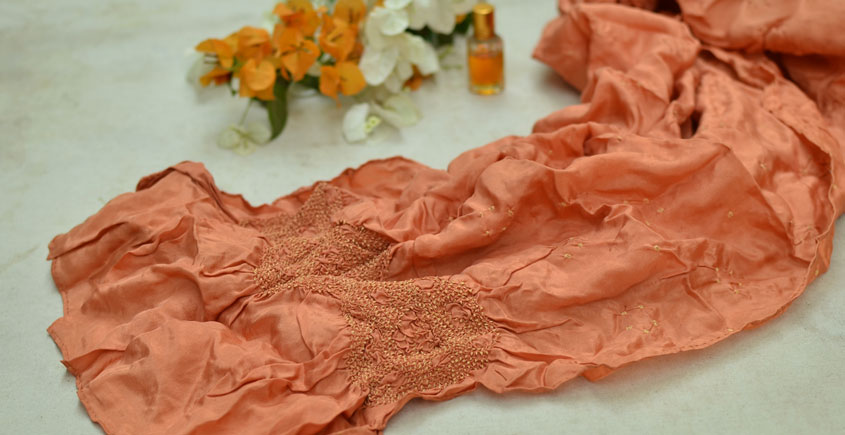 Twinkle Drops ♦ Habotai Silk . Natural Color Bandhani Stole ♦ 14