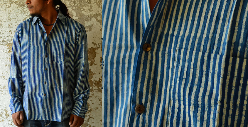 Sanganeri . Cotton Shirt ~ Blue line