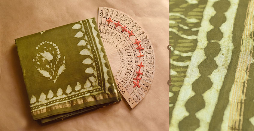 Chandni ✲ Handwoven Chanderi . Batik Saree ✲ 7
