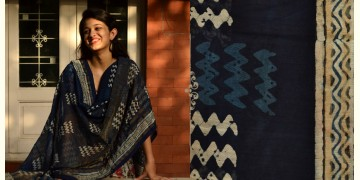 Indigo grounds ~ Batic Indigo * Chanderi Dupatta * 10 *