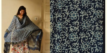 Indigo grounds ~ Batic Indigo * Chanderi Dupatta * 12 *