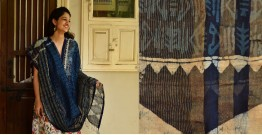 Indigo grounds ~ Batic Indigo * Chanderi  Dupatta * 3 *