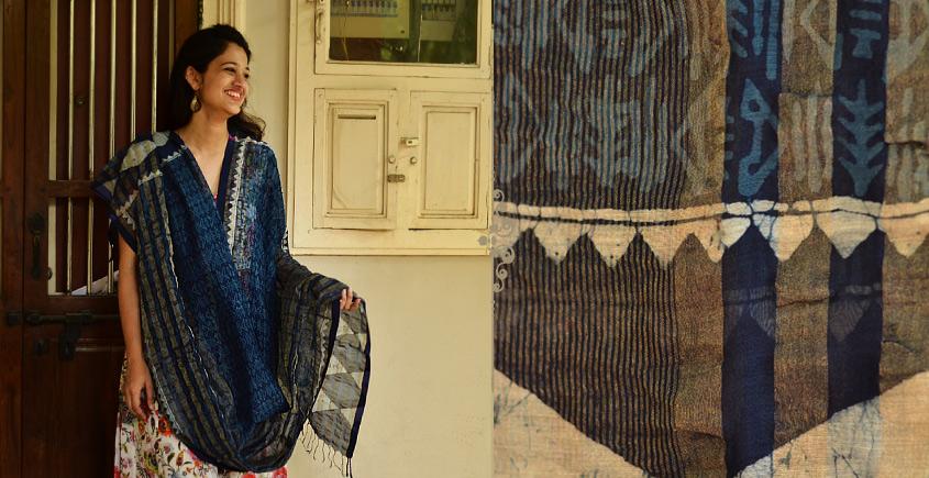 Indigo grounds ~ Batic Indigo * Chanderi  Dupatta * 3 *