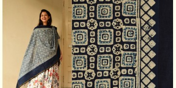 Indigo grounds ~ Batic Indigo * Chanderi Dupatta * 5 *