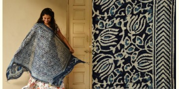 Indigo grounds ~ Batic Indigo * Chanderi Dupatta * 6 *