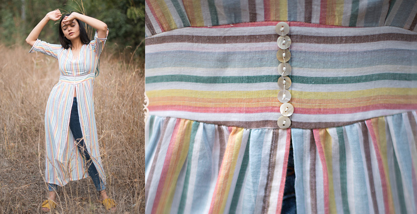 Iris ❊ Multicolour Striped Tunic With Gathers And Front Slit ❊ 9