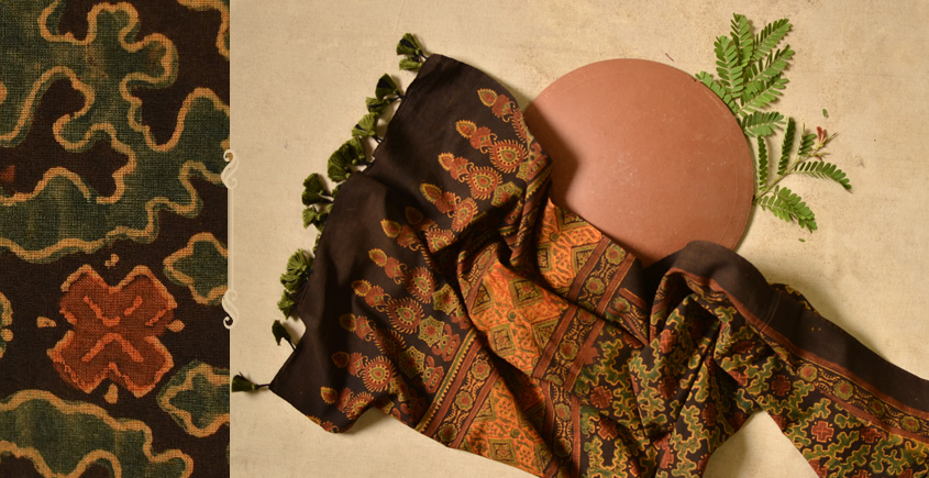 Ripened by the Tropical Sun ❋ Cotton Ajrakh Stole { 7 }