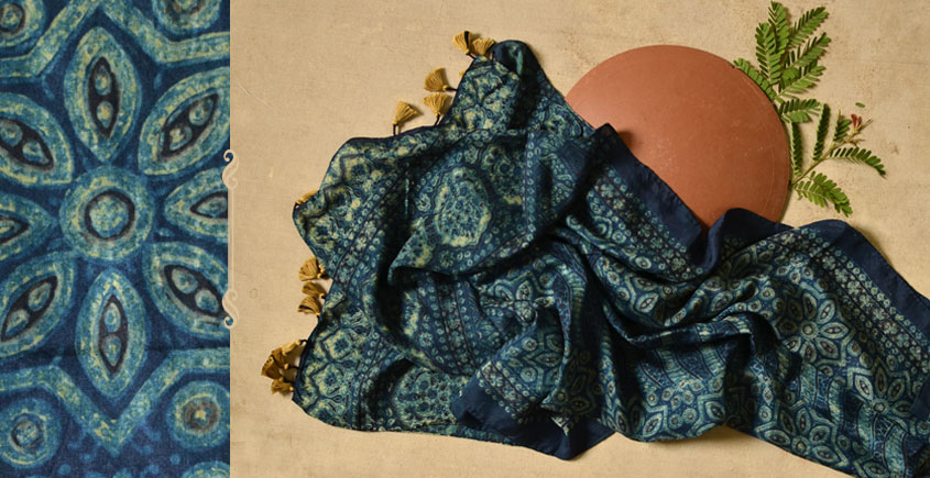 Ripened by the Tropical Sun ❋ Modal Silk Ajrakh Stole { 17 }