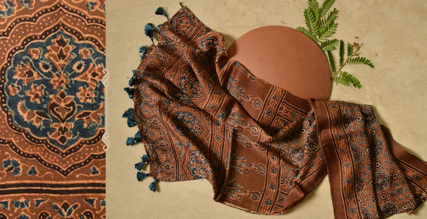 Ripened by the Tropical Sun ❋ Modal Silk Ajrakh Stole { 24 }
