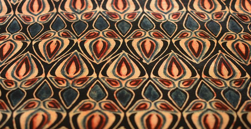 Ajrakh Natural Color Mashru Fabric ~ 11 { Per meter }