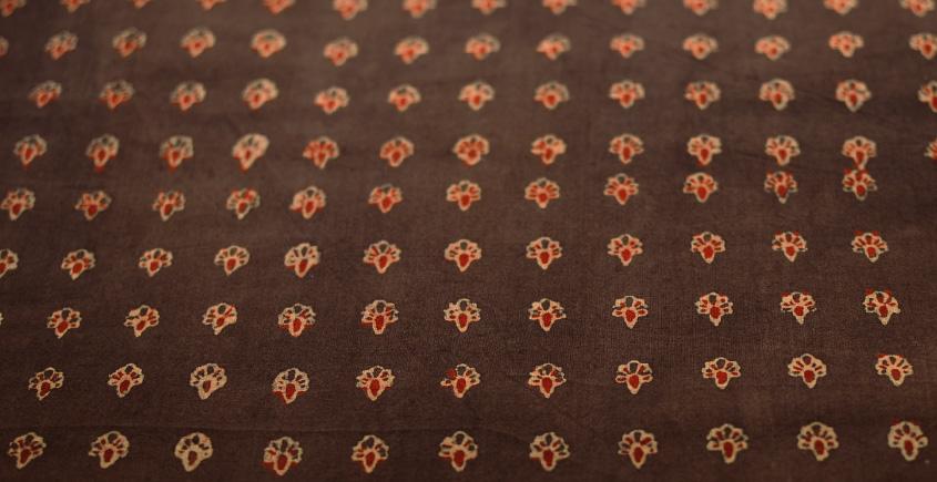 Ajrakh . Natural Color Cotton Fabric ~ 25 { Per meter }