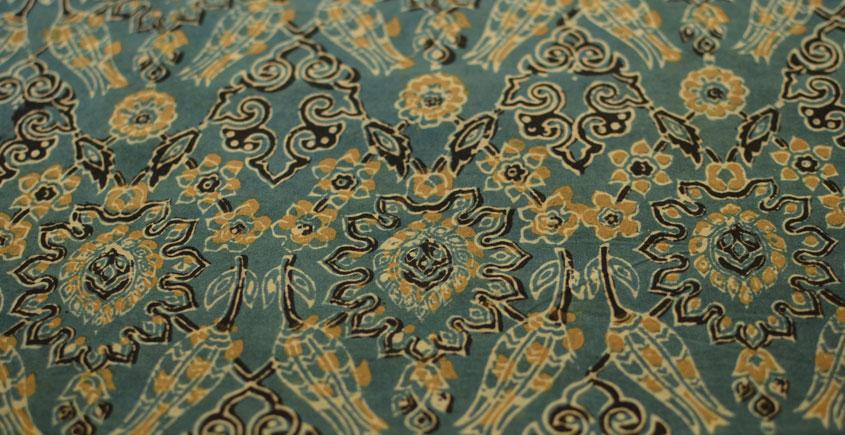 Ajrakh . Natural Color Cotton Fabric ~ 26 { Per meter }