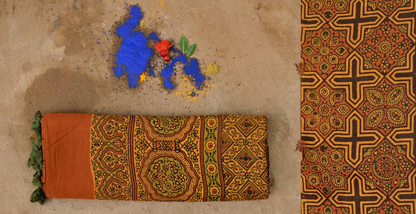 परवा ❋ Gajji Silk . Ajrakh Saree { b }