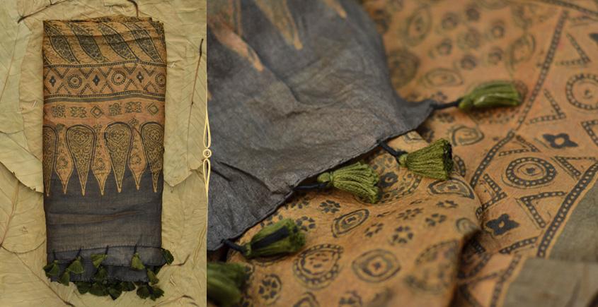 Celestial Decorations ◈ Tussar Silk . Ajrakh dupatta . 18