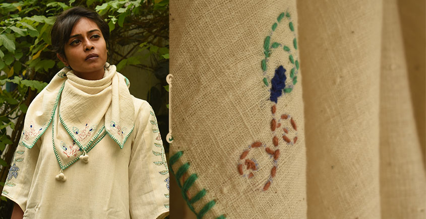Aranya ♣ Kantha Embroidered . hand spun Handloom ♣ Cotton Scarf ♣ 5
