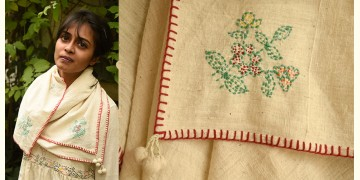 Aranya ♣ Kantha Embroidered . hand spun Handloom ♣ Cotton Scarf ♣ 8