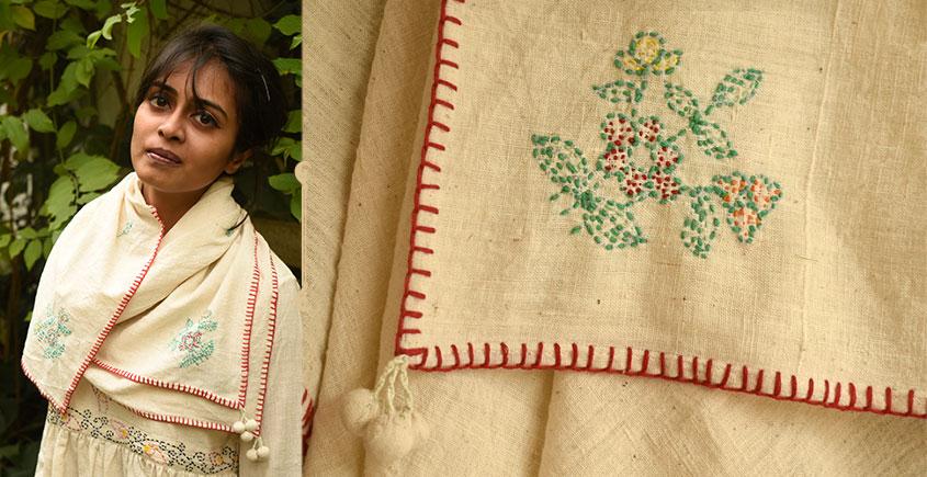 Aranya ♣ Kantha Embroidered . hand spun Handloom ♣ Cotton Scarf ♣ 8