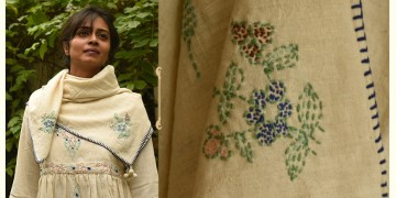 Aranya ♣ Kantha Embroidered . hand spun Handloom ♣ Cotton Scarf ♣ 10