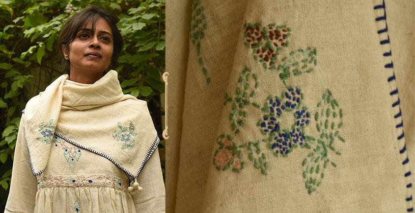 Aranya ♣ Kantha Embroidered . hand spun Handloom ♣ Cotton Scarf ♣ 10