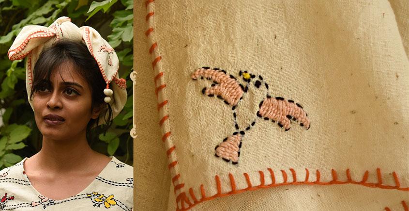 Aranya ♣ Kantha Embroidered . hand spun Handloom ♣ Cotton Scarf ♣ 12