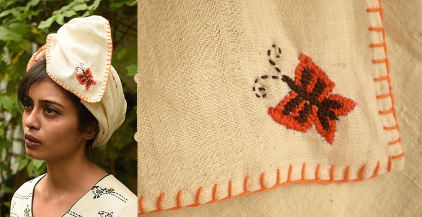 Aranya ♣ Kantha Embroidered . hand spun Handloom ♣ Cotton Scarf ♣ 14