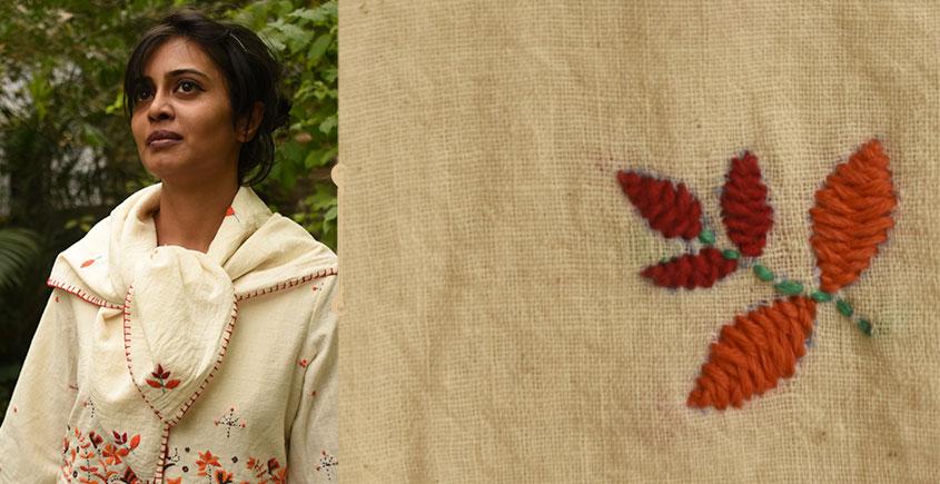 Aranya ♣ Kantha Embroidered . hand spun Handloom ♣ Cotton Scarf ♣ 16