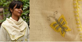 Aranya ♣ Kantha Embroidered . hand spun Handloom ♣ Cotton Scarf ♣ 18